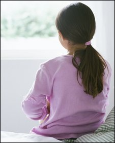 A child looks out of the window