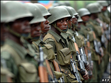 Congolese soldiers in Rutshuru (24 January 2009)