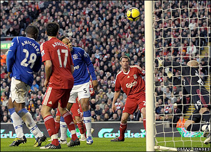 Everton's Joleon Lescott glances in Tim Cahill's header in the 27th minute of the clash