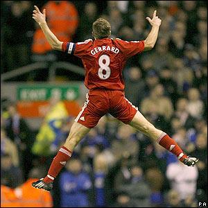 Gerrard celebrates in style