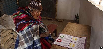 Votante indígena en Bolivia