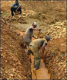 Gold miners in Mongbwalu, Congo