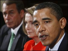 John Boehner, Nancy Pelosi and Mr Obama