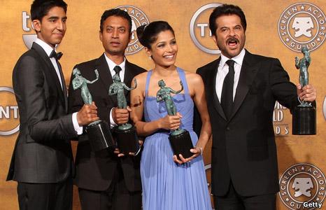Dev Patel, Irrfan Khan, Freida Pinto and Anil Kapoor from Slumdog Millionaire