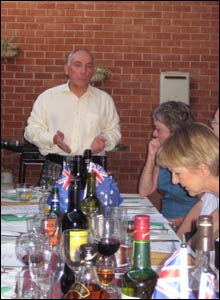 Ed McWilliams addressing the Haggis and reciting Burns to an international gathering in Adelaide, south Australia.