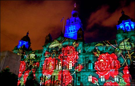 Stefan Sealey sent in this photo of the light show illuminating the City Chambers at George Square in Glasgow.