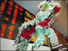 Lion dancers in the Philipphine Stocks Exchange in Manila