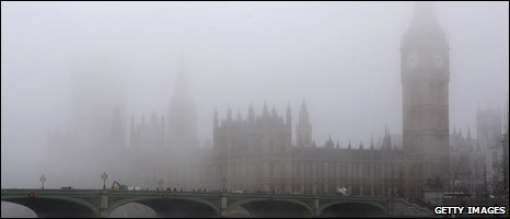 Parliament in the fog