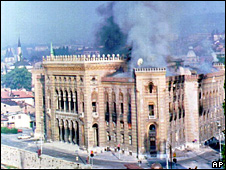 Fire at Sarajevo's library caused by bombardment in August 1992