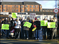 Protesters at the Southern General Hospital