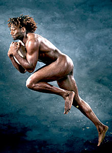 Paul Sackey catches a high ball - naked