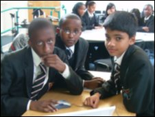 School Reporters Tyrone, 13, Omar, 13, and Ashan, 12, from Lampton School at Brentside City Learning Centre