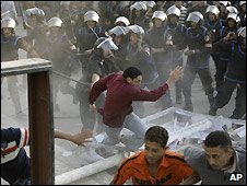 Riot police and protesters in Egypt - April 2008