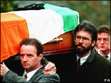 Gerry Adams carried the coffin of IRA bomber Thomas Begley