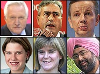 David Dimbleby, Iain Gray, Michael Gove, Jo Swinson, Nicola Sturgeon and Hardeep Singh Kohli