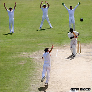 England bowler James Anderson leads the appeals