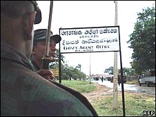 Undated handout picture released by the Sri Lankan Ministry of Defence on January 27, 2009 shows government soldiers after a military offensive against Tamil Tiger rebels in Mullaitivu
