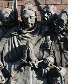 A sculpture of Blessed Edward which hangs at the school