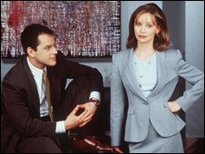 Calista Flockhart and Gil Bellows from the series Ally McBeal