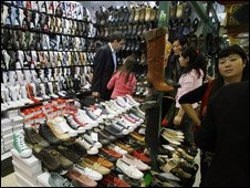 A stall selling fake shoes in Beijing, file image