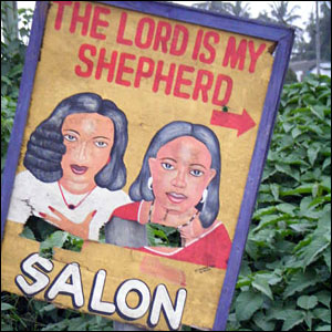 "A sign for a hair salon in Ghana reading ""The Lord is My Shepherd Salon"" (Photo: BBC News website reader Claire Jaquin)"