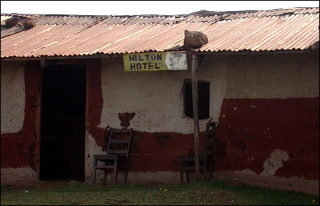 "A sign on a hotel in Uganda reading, ""Hilton Hotel"" (Photo: BBC News website reader David Gommeren)"