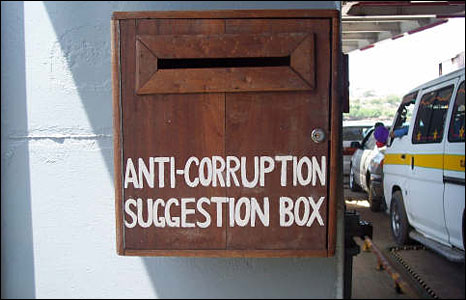 "An ""anti-corruption suggestion box"" pictured in Kenya (Photo: BBC News website readers Richard and Heather Vine)"