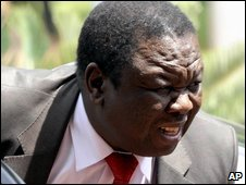 Morgan Tsvangirai in Pretoria, South Africa, on 26 January 2009