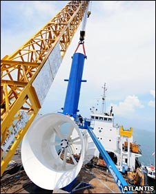 Tidal current turbine loaded on a ship. Pic: Atlantis