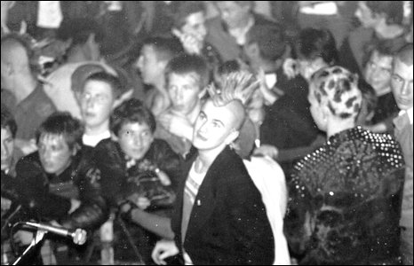 Punk musicans playing in 1981