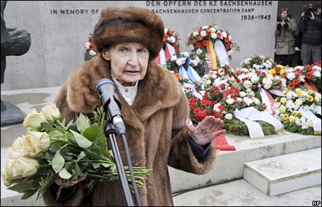 Sachsenhausen concentration camp survivor Helga Luther speaks at a ceremony near Berlin