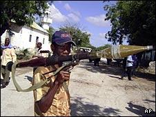 An Islamist insurgent in a Mogadishu street
