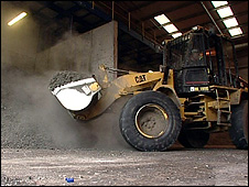 Escavator moving waste material (Image: BBC)
