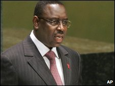 Macky Sall pictured when he was still prime minister of Senegal, at the UN in New York in June 2006