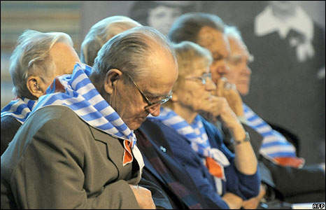 Former prisoners of Auschwitz-Birkenau death camp during a remembrance ceremony in Poland