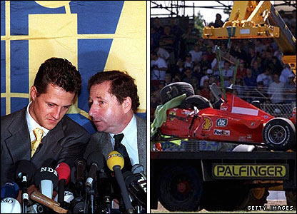 Michael Schumacher with team boss Jean Todt (left) and the aftermath of his crash at Silverstone in 1999