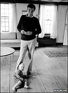 John Updike with child