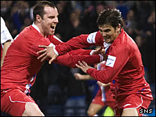 Kris Boyd and Nacho Novo celebrate at Hampden