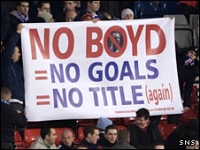 Rangers hold up a banner urging the inclusion of Kris Boyd in the Rangers team