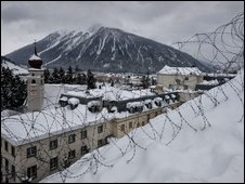 Barbed wire protects a hotel the day before the opening of the Annual Meeting of the World Economic Forum
