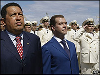 El presidente de Venezuela, Hugo Chávez, y el presidente de Rusia, Dmitry Medvedev