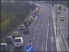 Traffic queuing on the eastbound carriageway of the M4