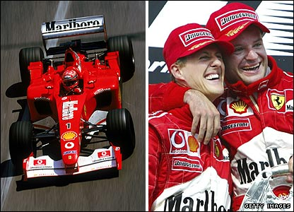Michael Schumacher races in Monte Carlo and right with team-mate Rubens Barrichello
