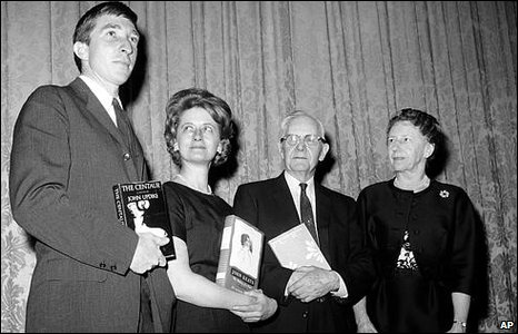 John Updike, left, won the National Book Award in 1963 for his novel The Centaur.
