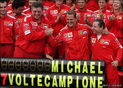 Michael Schumacher celebrates his seventh world championship in 2004