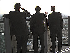 Businessmen on a rooftop