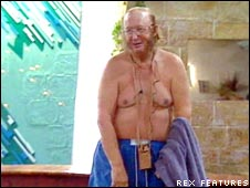 McCririck in his swimming trunks