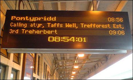 Train information board at Cardiff