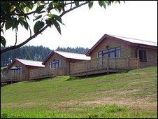 Log cabins at Bryn Bettws Lodge