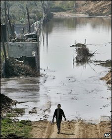 Waste water lake in Gaza